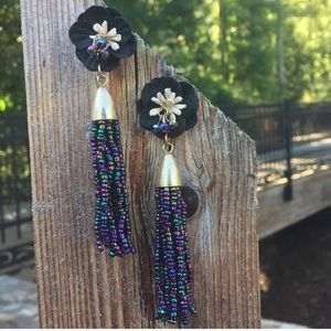 Fabric Flower Post Beaded Tassel Post Earrings